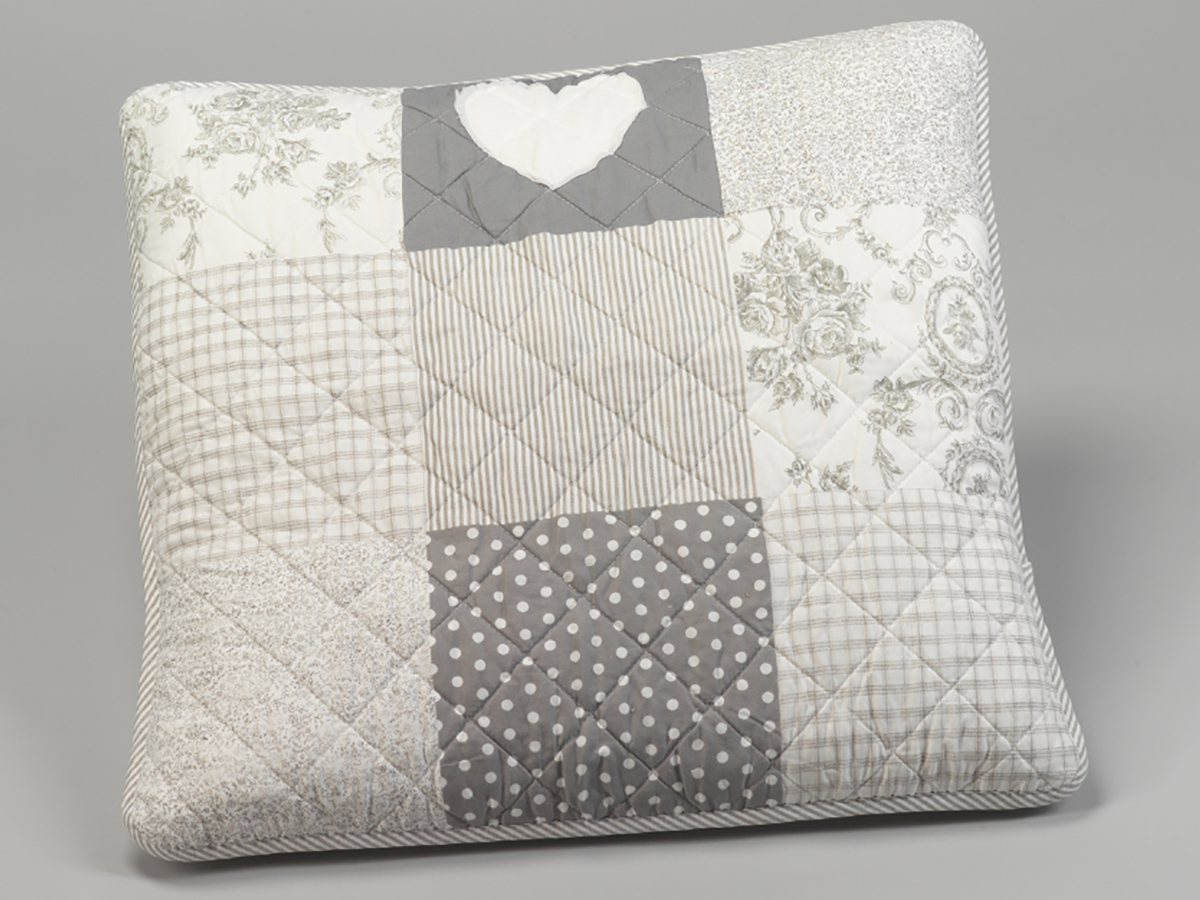housse de coussin patchwork 60 x 60 cm pois et fleurs gris simla neuf ebay. Black Bedroom Furniture Sets. Home Design Ideas