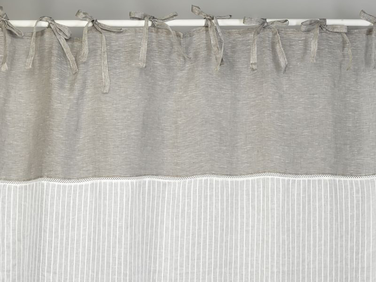 rideau voilage 140x280 lin blanc lignes et haut gris simla. Black Bedroom Furniture Sets. Home Design Ideas