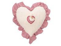 Coussin coeur lin et vichy rouge - Jolipa