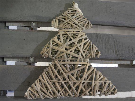 Suspension de Noël en osier gris - Simla