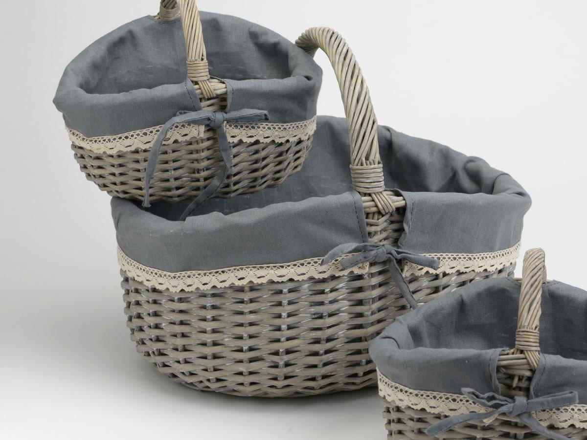 Panier en osier gris et tissu gris grand mod le style campagne chic amade - Tissu style campagne ...