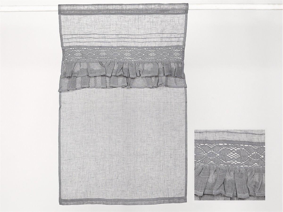 brise bise lin gris et dentelles simla neuf ebay. Black Bedroom Furniture Sets. Home Design Ideas