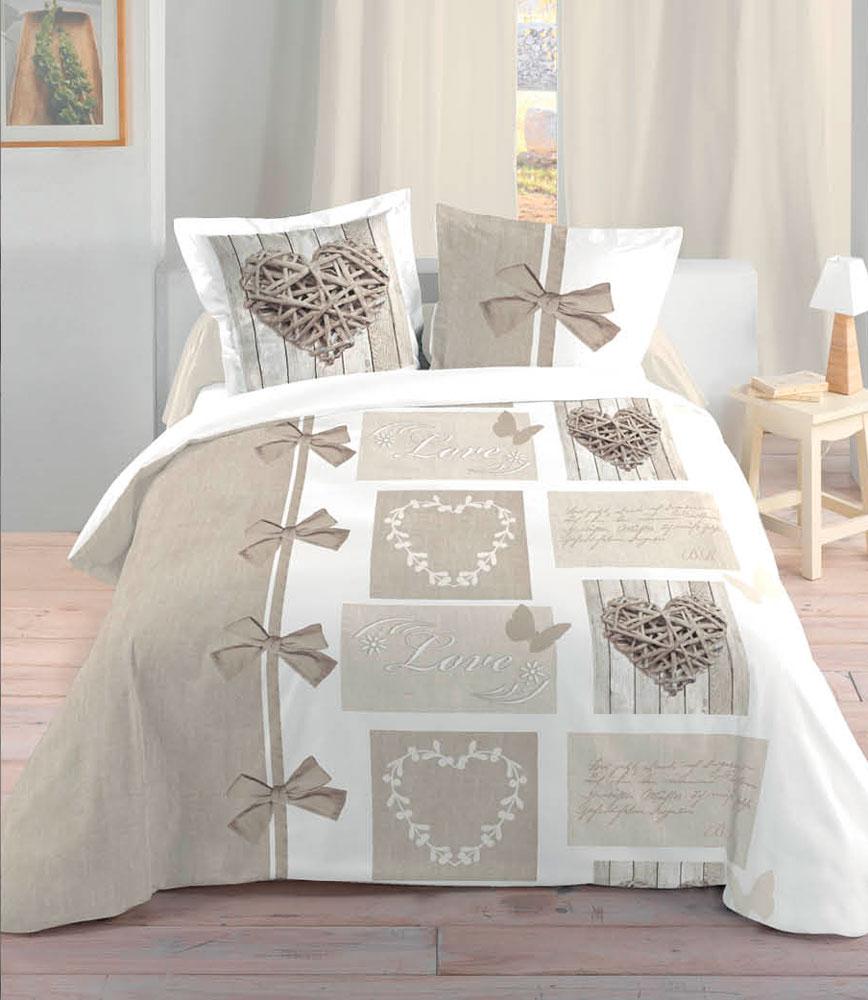 couvre lit cœur Housse de couette beige 240 x 260 cm motifs coeurs bois couvre lit cœur