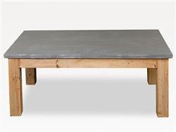 Table basse en bois naturel et gris ciment - Simla