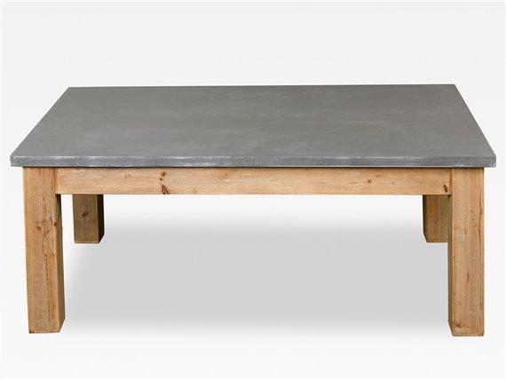 Table basse de salon en bois naturel et gris ciment simla for Table basse bois naturel