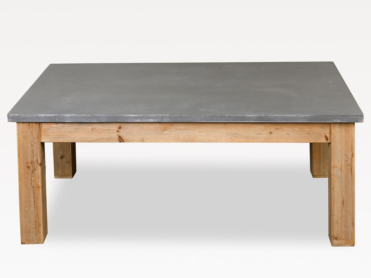 Table Basse De Salon En Bois Naturel Et Gris Ciment Simla