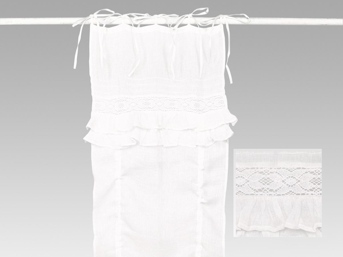 Rideau store lin blanc volants simla neuf ebay - Rideau lin blanc ikea ...