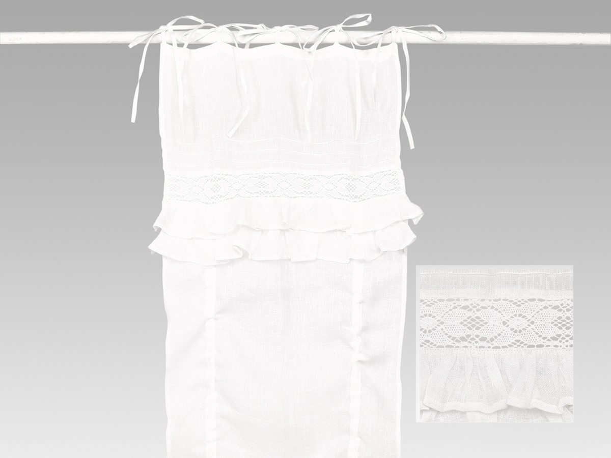 Rideau store lin blanc  volants Simla