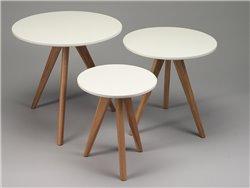 3 tables de salon blanches et chêne - Simla
