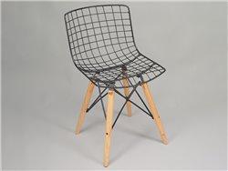 Set de 2 chaises en métal noir et bois naturel - Simla