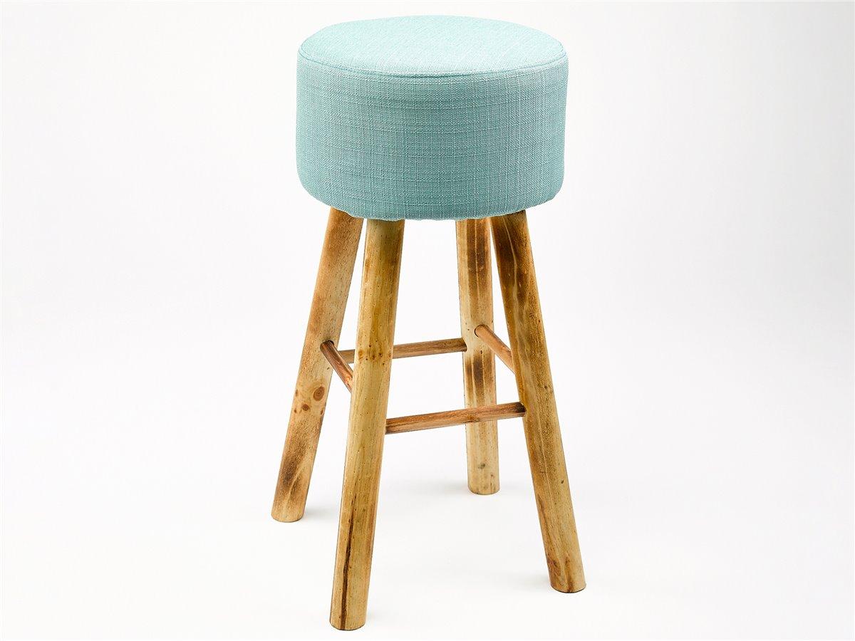 tabouret de bar haut vintage en bois et tissu gris ou bleu. Black Bedroom Furniture Sets. Home Design Ideas