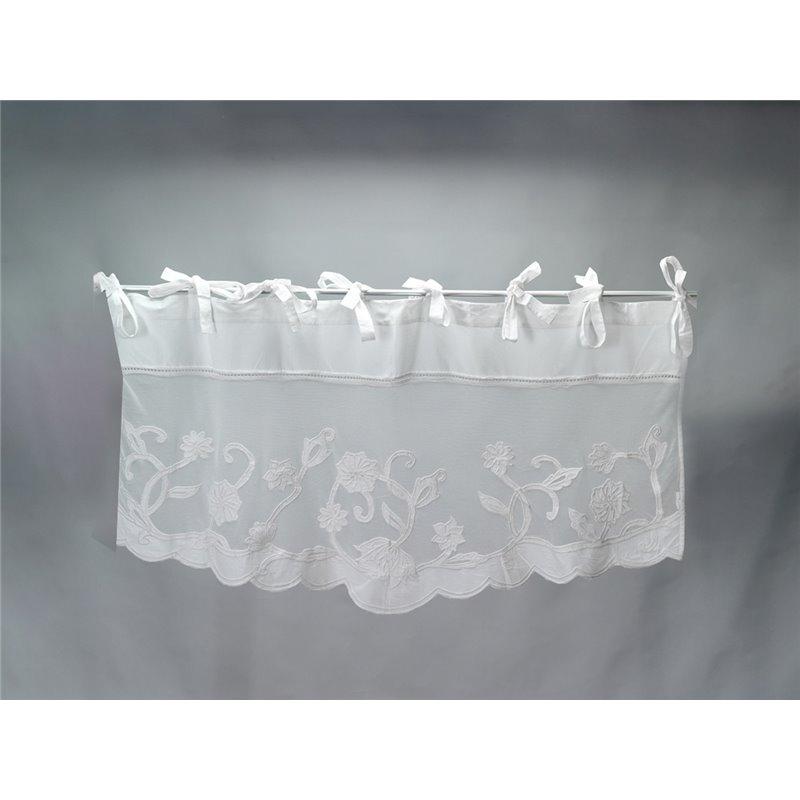 Cantonnière de charme blanche 100% coton 140 cm et fleurs Simla