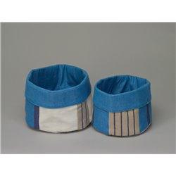 Panière ronde rayée bleu, beige et écru - Simla