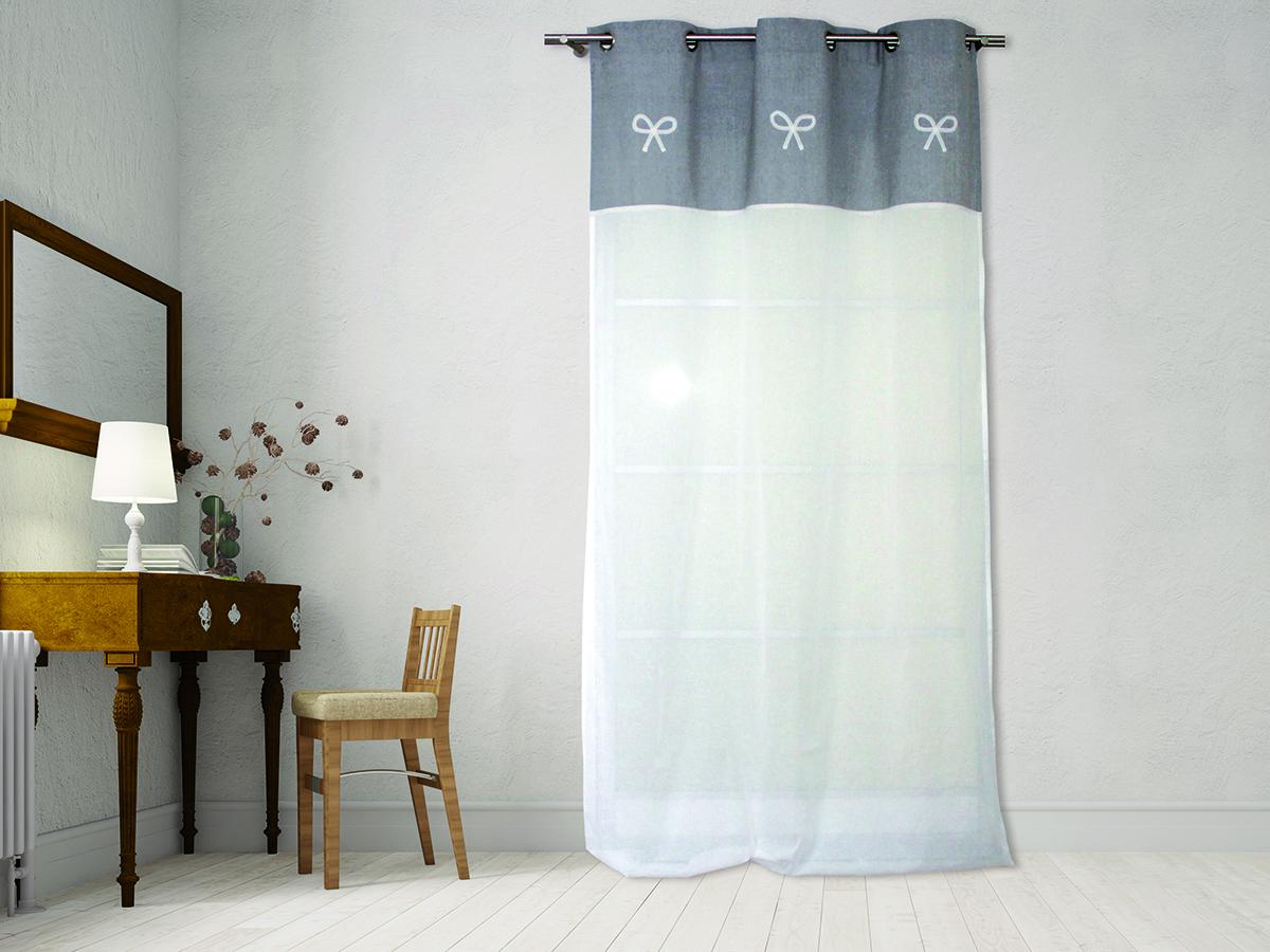 Rideau voilage Emilie blanc et gris  cocarde 140 x 240 cm