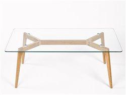 Table basse rectangulaire chêne et verre - Simla