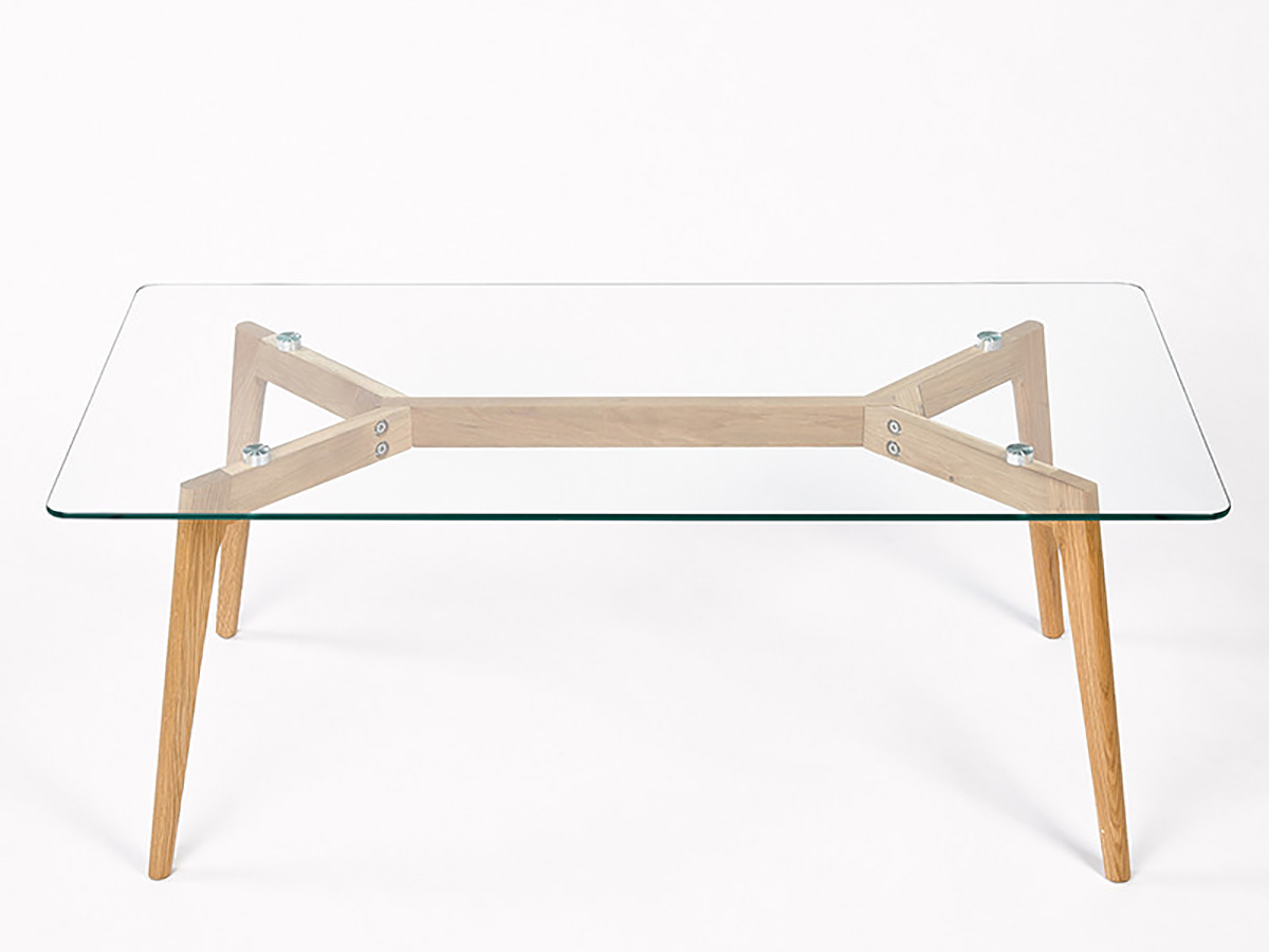 Tendance scandinave table de salon ch ne et verre de simla for Table basse chene et verre