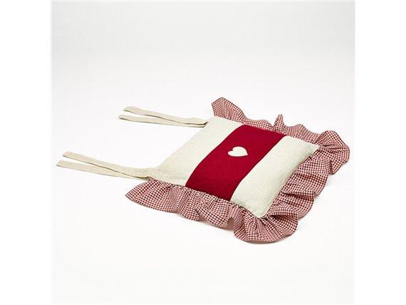 galette de chaise en lin beige et rouge volant vichy. Black Bedroom Furniture Sets. Home Design Ideas