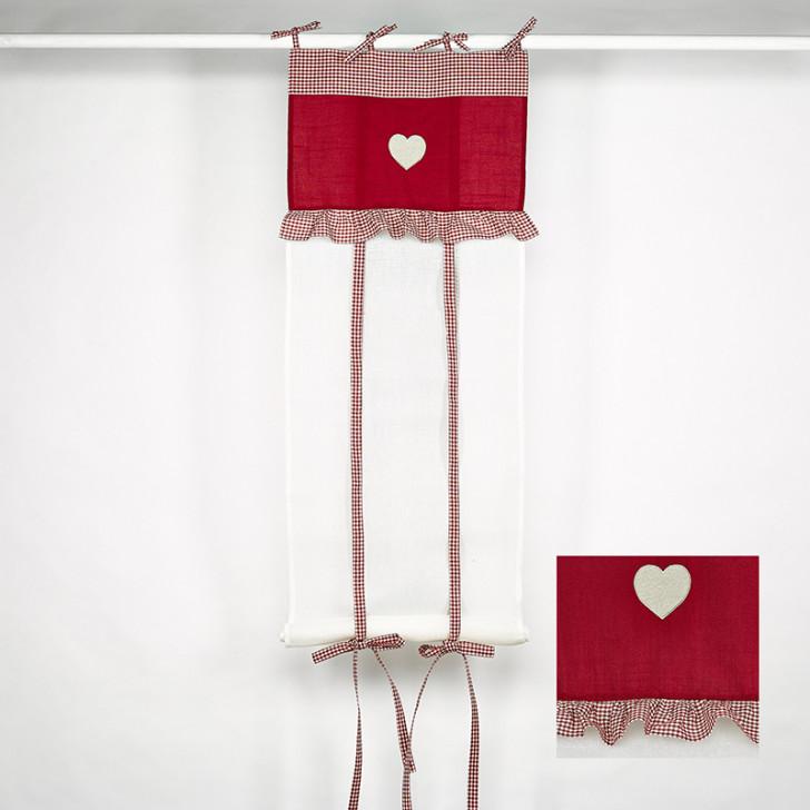 Rideau store blanc et cantonnière vichy rouge - Simla