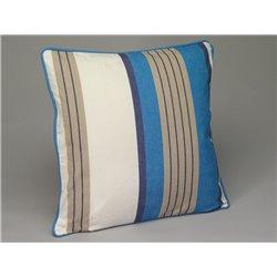 Housse de coussin 45 x 45 cm rayée bleu, beige et écru - Simla