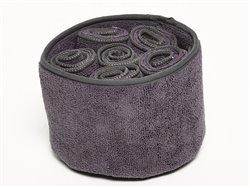 Panière éponge gris foncé et 6 serviettes d'invité 30 x 30 cm - Simla
