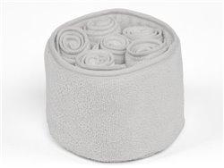Panière éponge et 6 serviettes d'invité 30 x 30 cm - Simla