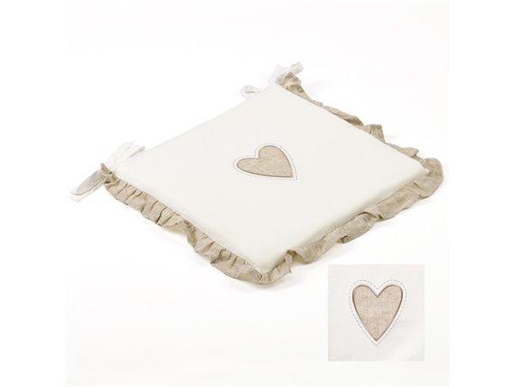 Galette de chaise blanche et coeur lin - Simla