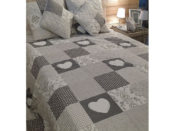 couvre lit patchwork gris en boutis et taies simla. Black Bedroom Furniture Sets. Home Design Ideas