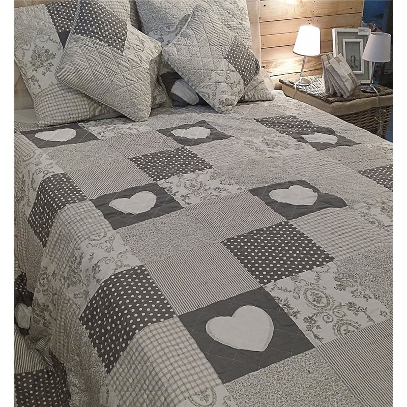 couvre lit patchwork gris en boutis et taies simla. Black Bedroom Furniture Sets. Home Design Ideas