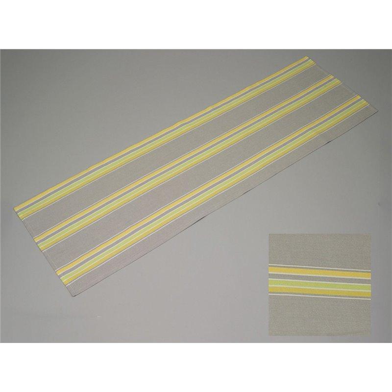 Chemin de table 100 coton ray gris jaune vert simla for Chemin de table jaune