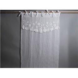 Rideau voilage en lin blanc 140 x 280 cm top fleurs brodées - Simla
