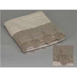 Serviette de bain écrue lin ou taupe et broderies - Simla