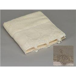 Serviette de toilette écru ou taupe lin et broderies - Simla