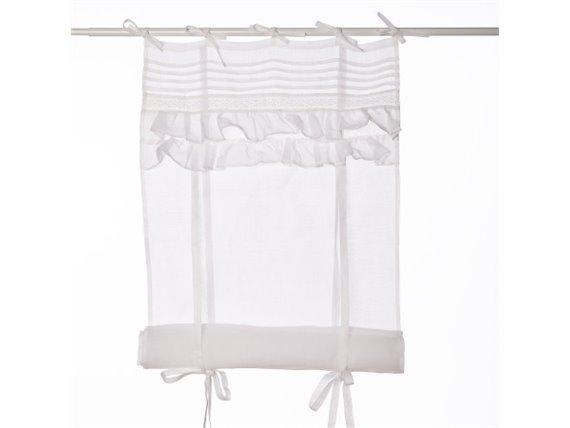 rideau store en voilage blanc avec volants simla