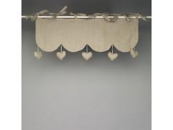 Cantonnière 45x25 lin naturel coeurs pendants - Simla