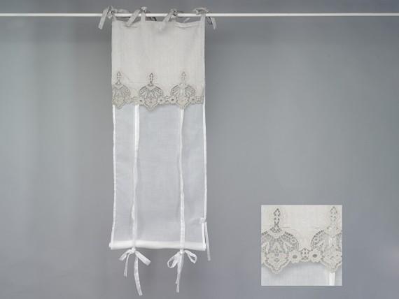 Rideau store voilage blanc et dentelle beige gris e simla - Rideau a nouette ...