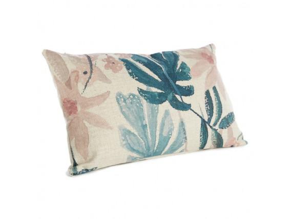 Housse de coussin à fleurs bleues et roses - Simla