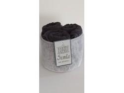 Petite corbeille en microfibre et 3 serviettes d'invité - Simla