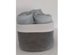 Petite corbeille et 3 serviettes d'invité - gris/blanc - Simla