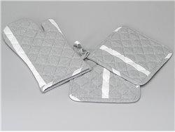 Lot de 2 maniques + 1 gant de cuisine gris à lignes blanches - Simla