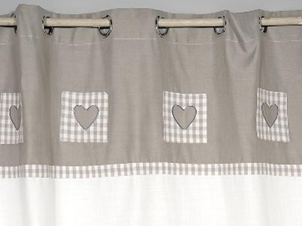 rideaux cuisine gris rideau gris avec coeur rideaux occultants thermiques oeillets ponydance. Black Bedroom Furniture Sets. Home Design Ideas