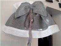 Housse d'abat-jour petit modèle lin gris à bords blancs - Simla