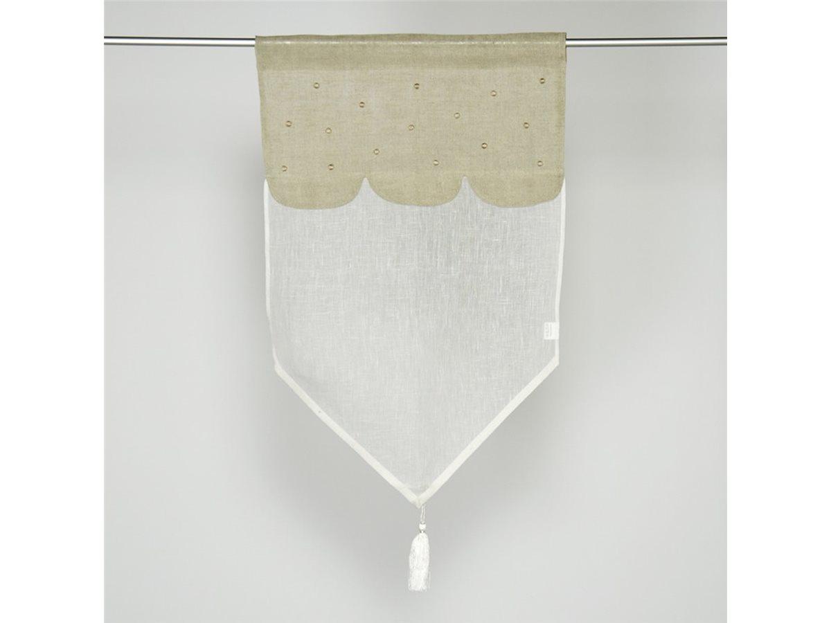 brise bise vitrage lin cru haut lin naturel pois simla neuf. Black Bedroom Furniture Sets. Home Design Ideas