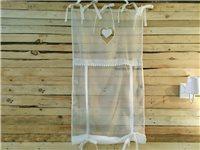 Rideau store en voilage organdi blanc à coeur pendant - Simla