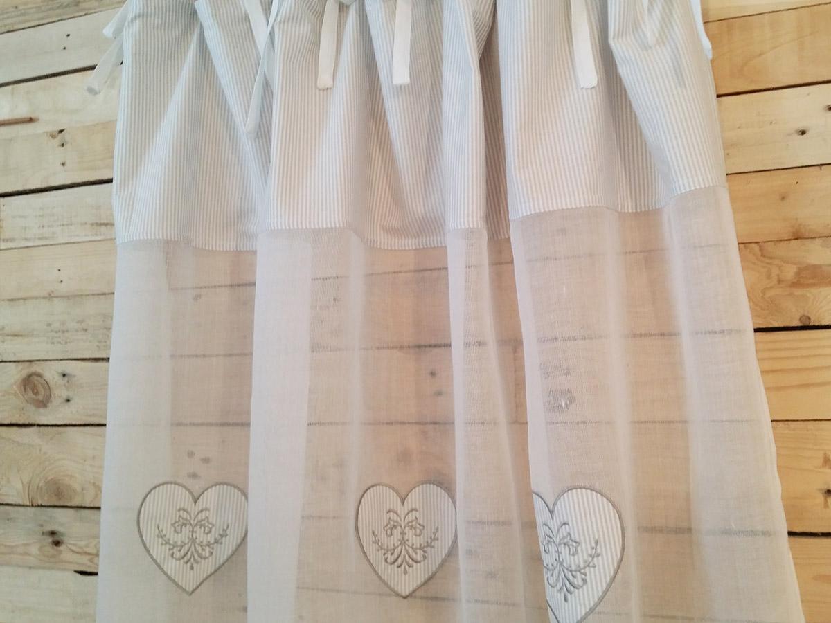 rideau voilage blanc et c urs ray s gris et blanc simla. Black Bedroom Furniture Sets. Home Design Ideas