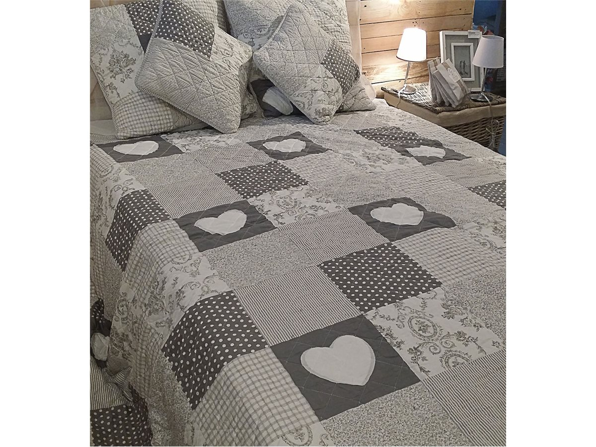 couvre lit patchwork gris en boutis simla neuf ebay. Black Bedroom Furniture Sets. Home Design Ideas