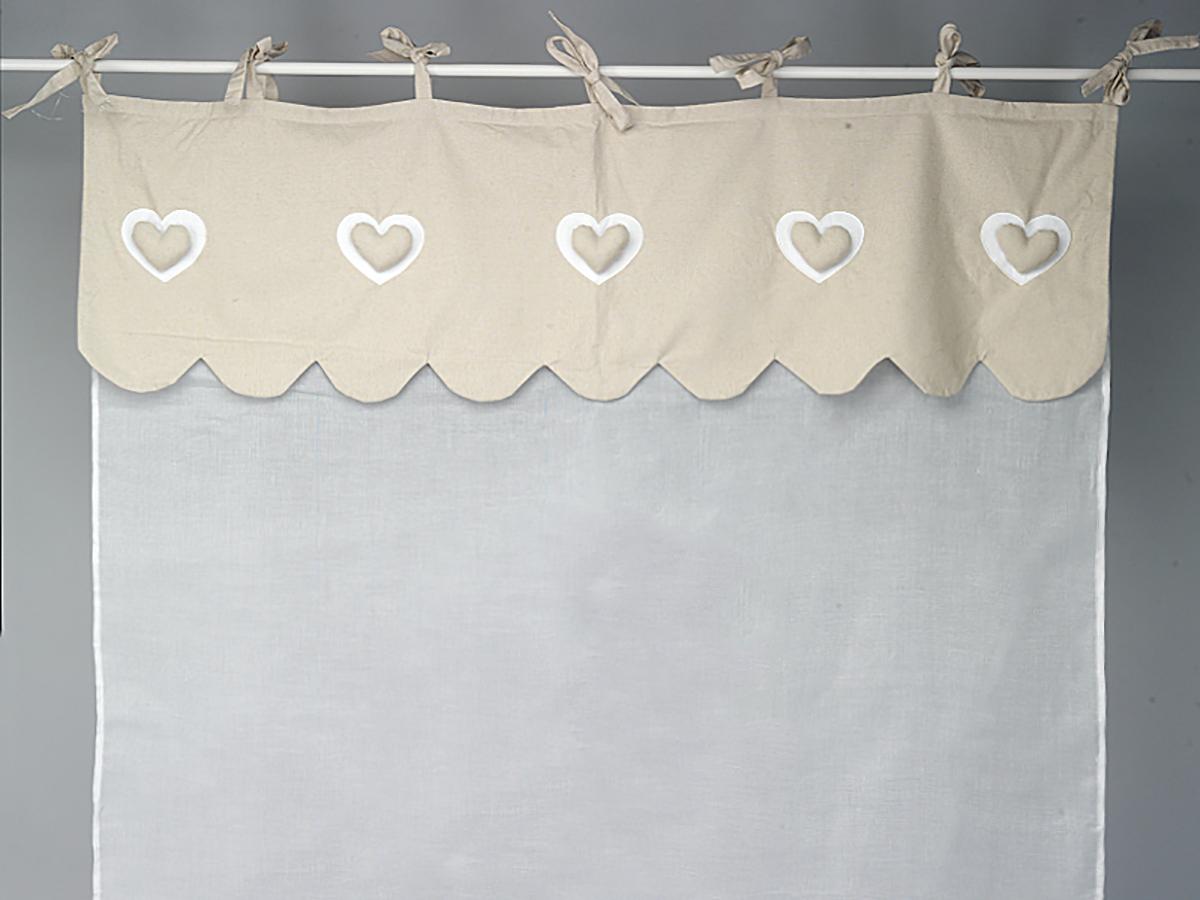 Rideau voilage écru et feston en lin à coeur - Simla - Neuf | eBay